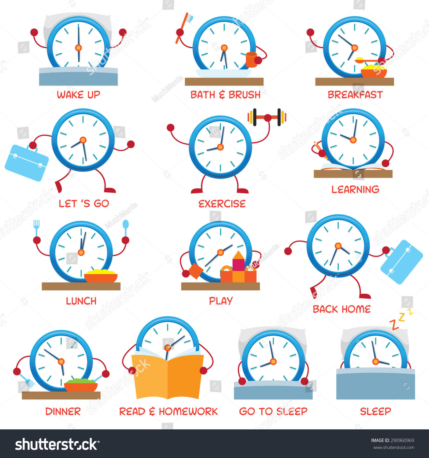 Clock Character Daily Routine Timetable Time Stock Vector ...