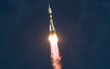 The Soyuz rocket with Expedition 33/34 crew members, Soyuz Commander Oleg Novitskiy, Flight Engineer Kevin Ford of NASA, and Flight Engineer Evgeny Tarelkin of ROSCOSMOS onboard the TMA-06M spacecraft launches to the International Space Station on Tuesday, Oct. 23, 2012, in Baikonur, Kazakhstan.