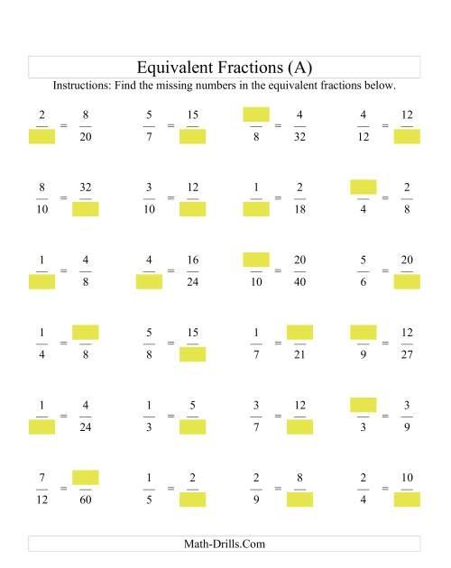 Missing Number Worksheet New 212 Equivalent Fractions