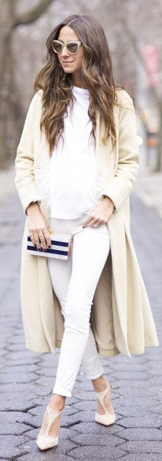 Cream Textured Long Coat