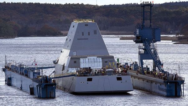 The USS Zumwalt floats off a submerged dry dock in the Kennebec River in Maine, on October 28, 2013.