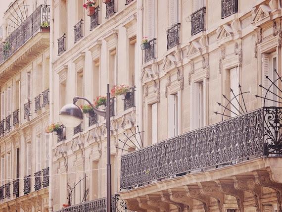 "Romantic Paris Balconies - French Windows - Blush Pink Black - 8x10"""