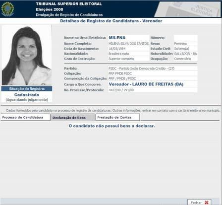 Milena Teixeira e sua ficha de inscrição no TRE