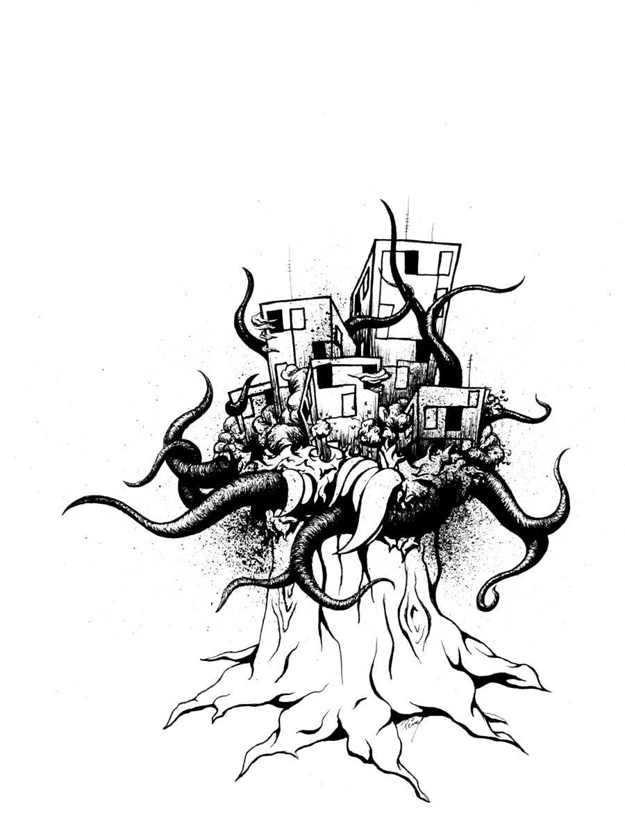 "Tree 12""x9"" ink on paper original drawing"