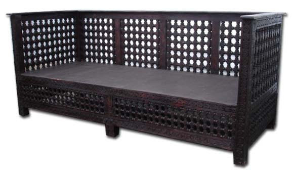 syrian furniture: mosharabie bench, middle eastern home decor