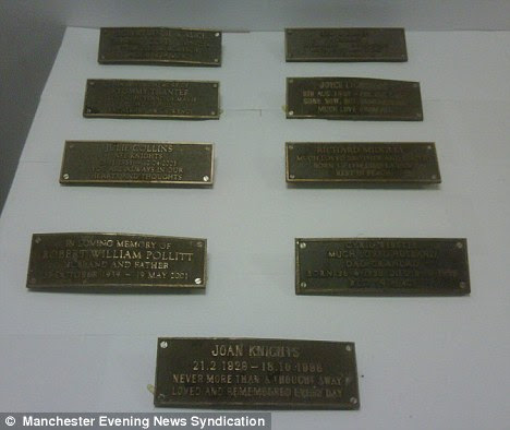 Memorable: The plaques which were stolen have now been recovered after diligent staff refused to buy them and told police