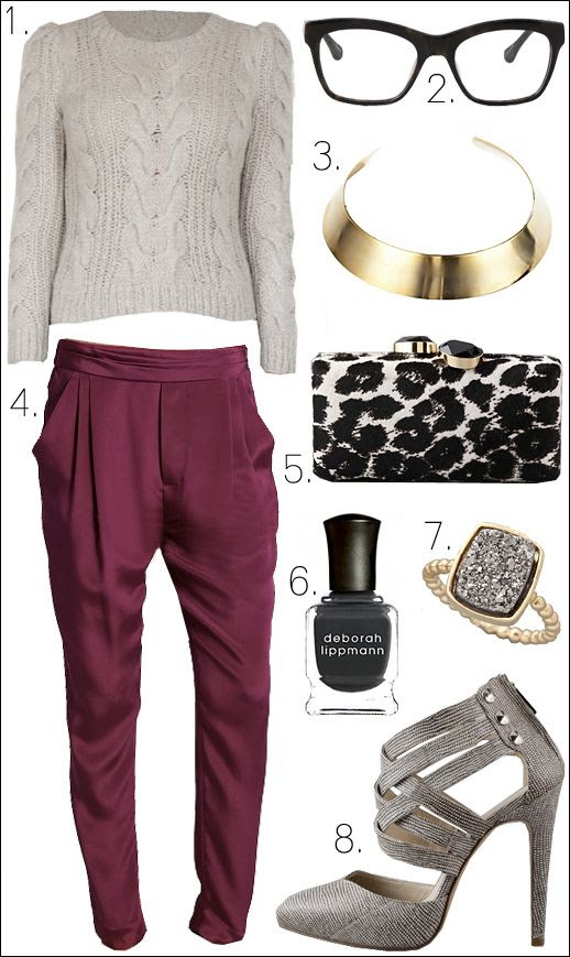 OUTFIT COLLLAGE CABLE KNIT SWEATER REBECCA TAYLOR ELIZABETH AND JAMES KENZIE EYE GLASSES DANNIJO VENA CAVA GOLD NECK CUFF 3.1 PHILLIP LIM SILK FUSCHIA PINK PANTS LEOPARD LCUTCH FELEX REY MINIAUDIERE DARA ETTINGER RING REBECCA MINKOFF JAUNT CRISSCROSS