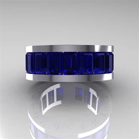 Mens Modern 14K White Gold Blue Sapphire Channel Cluster