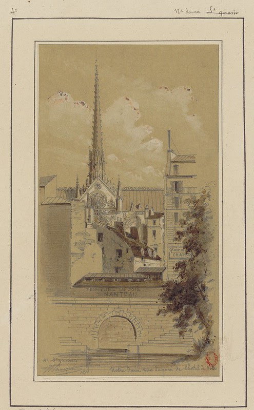 sketch of 19th Paris skyline with church spire dominating