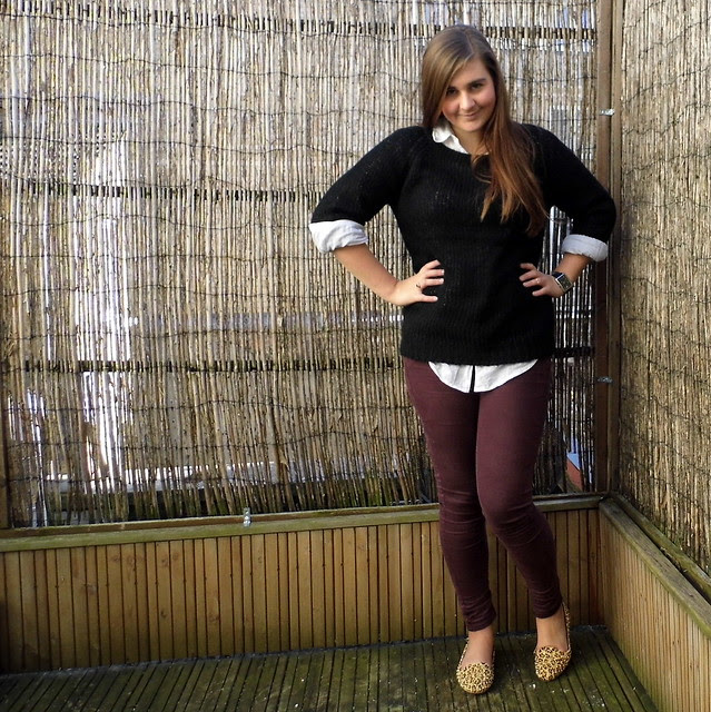 Chloe wears Topshop burgundy jeans, white shirt, black jumper, Jeffrey Campbell Flat shoes