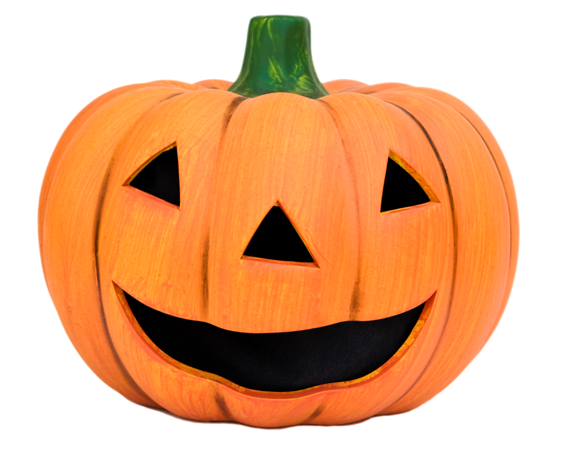 Stock image of ceramic jack-o-lantern pumpkin