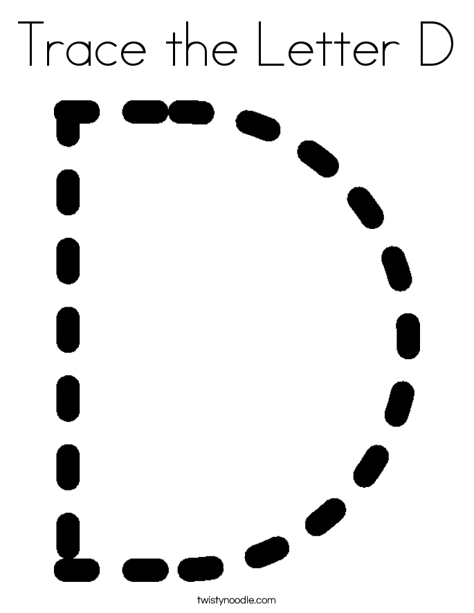 tracing the letter d twisty noodle - Clip Art Library