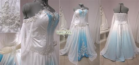 White and Blue Ombre Fantasy Wedding Gown by Firefly Path
