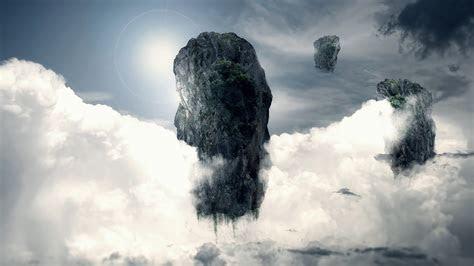 hd wallpaper fly rock islands cloud sun