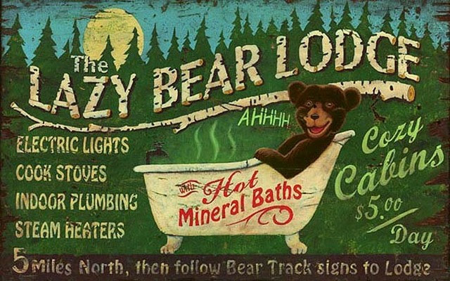 signs Lodge Novelty  Sign rustic  Rustic  Wooden by     Bear Signs   Vintage Lazy bear