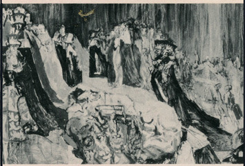 Feliks Topolski's painting of the Coronation of Queen Elizabeth detail with Winston Churchill