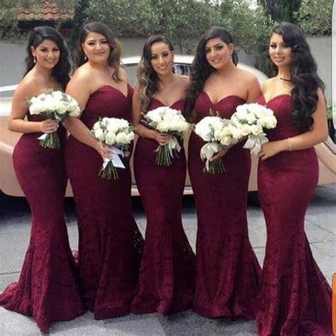 Elegant Sweetheart Lace Mermaid Cheap Long Bridesmaid