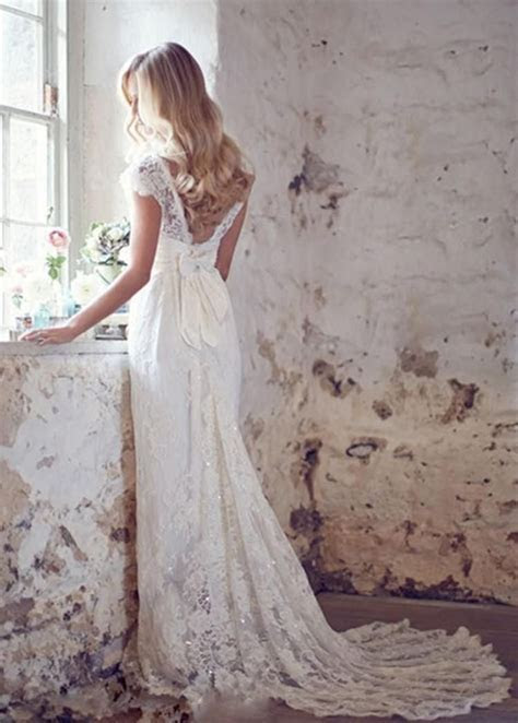 MANSA 2015 Vintage Lace Wedding Dress With Cap Sleeves