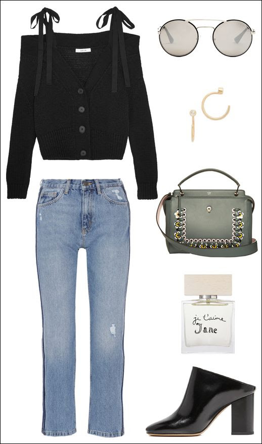 Off The Shoulder Sweater Round Prada Sunglasses Mini Hoop Earrings Fendi Bag MIH Side Stripe Jeans Bella Freud Perfume Margiela Mules Le Fashion Blog