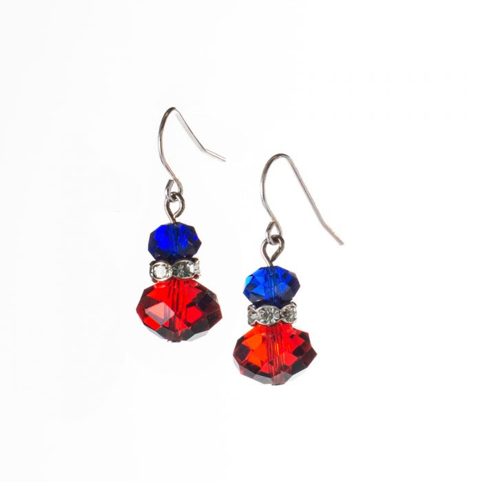 Red White Blue Crystal Earrings The Patriotic Jewelry Store