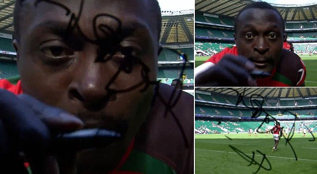 A very costly try: Kenyan rugby player causes £60,000 of damage to camera after signing