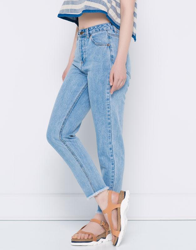 Pull&Bear - denim - jeans - jeans mom fit tiro alto - azul - 05683105-V2016