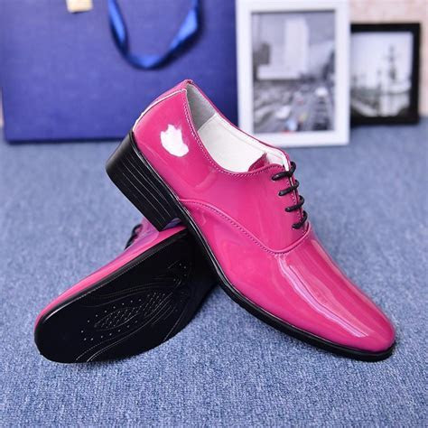 Cheap Man Wedding Shoes Solid Orange Rose Red Blue Wine