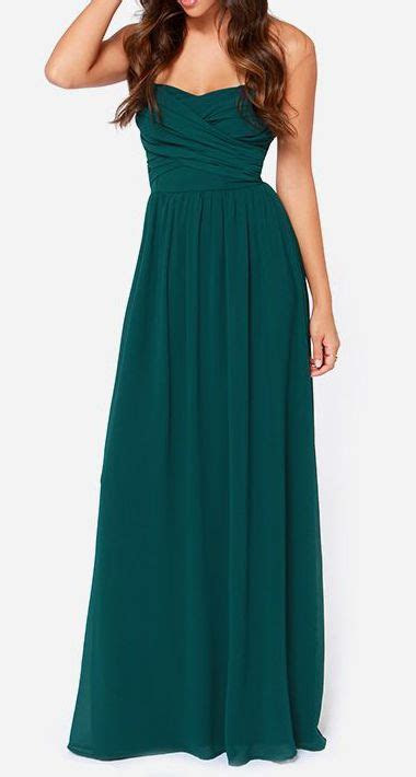 Royal Engagement Strapless Dark hunter Green Maxi Dress
