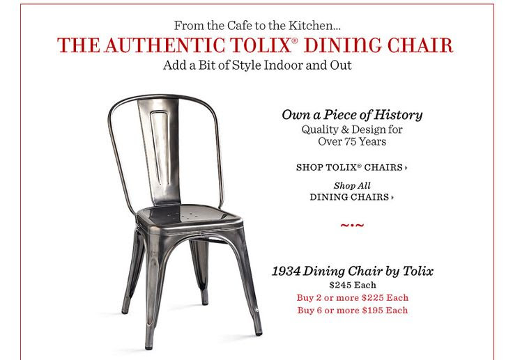 The Authentic 1934 Dining Chair by Tolix. Sundance