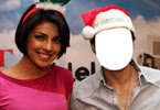 Priyanka and Uday Chopra with Christmas hat