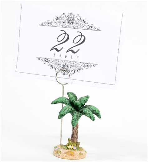 Poly Resin Palm Tree Place Card Holder   Luau and Beach