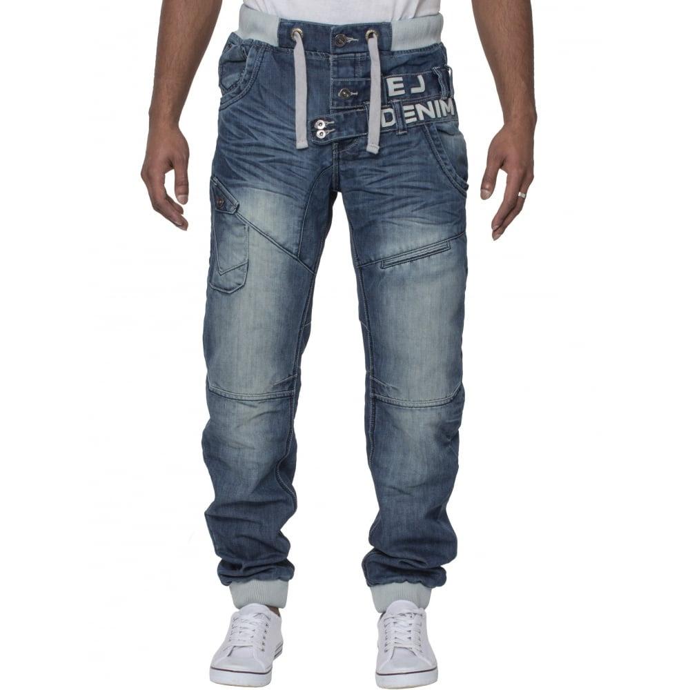 Eto Mens Designer Cuffed Denim Jeans Distressed Blue Black ...