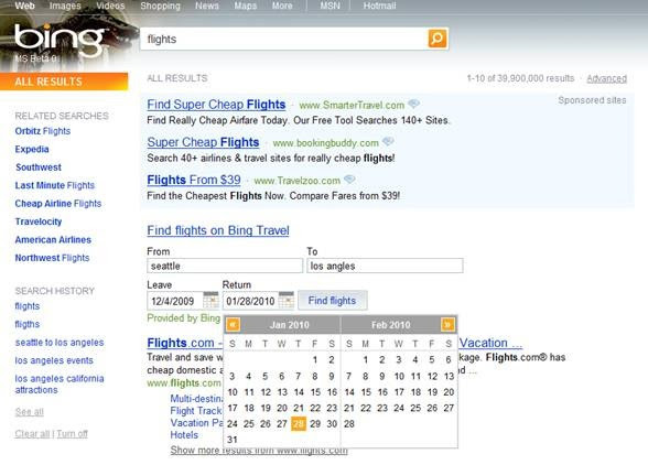 Bing Flights Search
