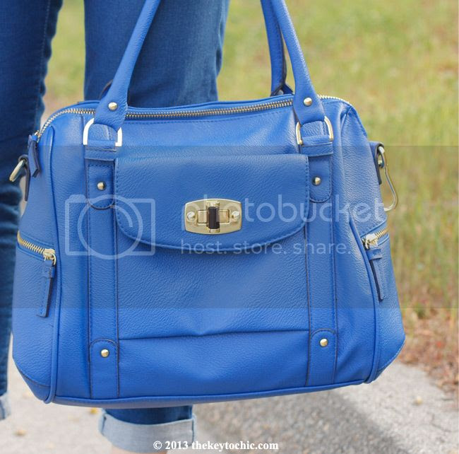 Merona blue turnlock satchel bag