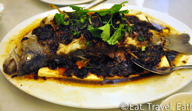 Far East Cafe- Chinatown, San Francisco, CA: Black Bean and Tofu Steamed Big Mouth Bass
