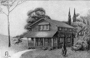 Stickley Craftsman House: Shingled House Exterior view from the front.