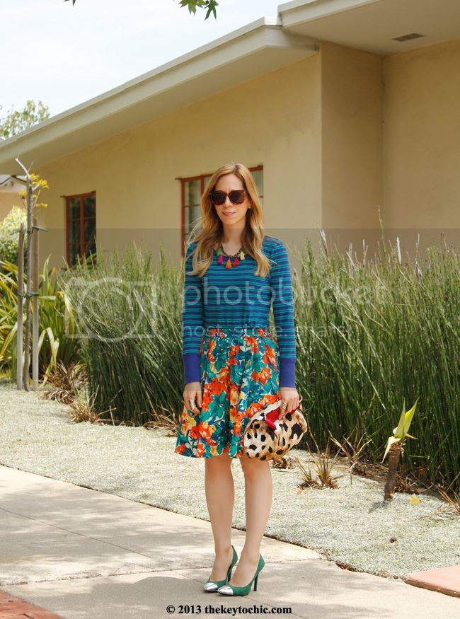striped J Crew top, floral Duro Olowu for JCPenney skirt, Mossimo Viveca cap toe pumps, Los Angeles fashion blogger