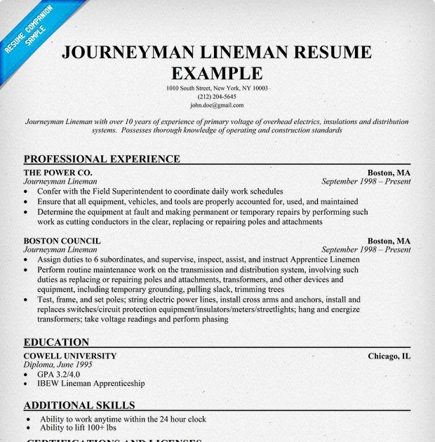 Fine Journeyman Lineman Resume Sample Photos - Example Business ...
