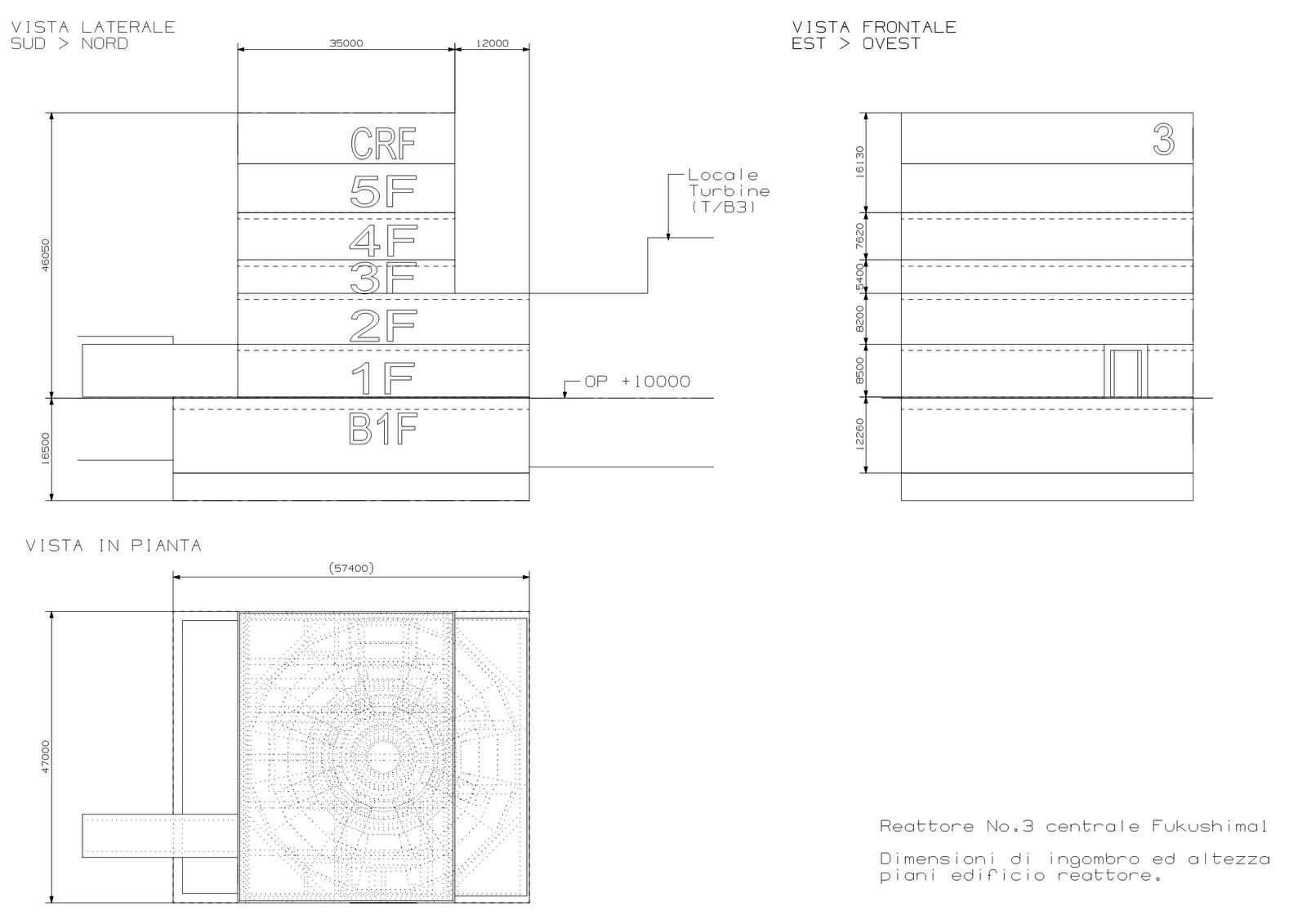 Fig. 3 : Vues latérale et frontale et plan du BR3