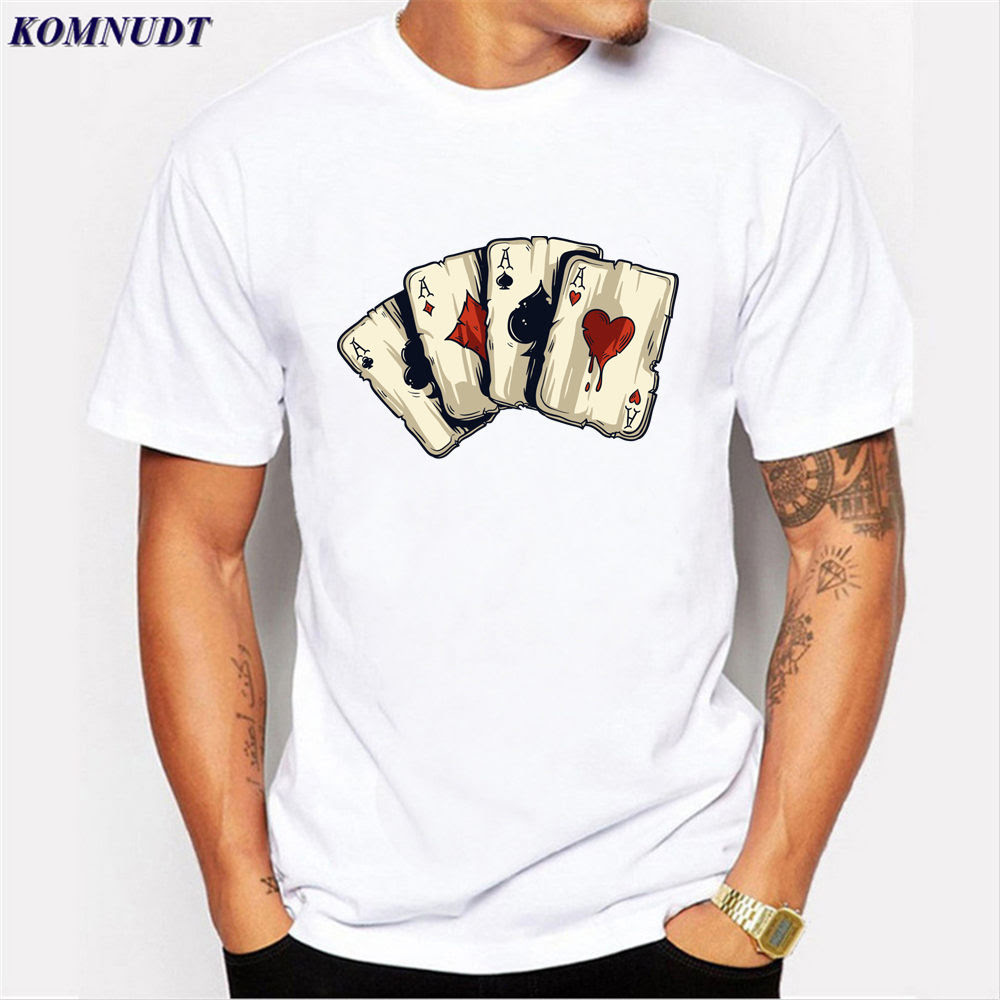 Poker Design T Shirt Playing Cards Clothes Men T Shirts Las Vegas