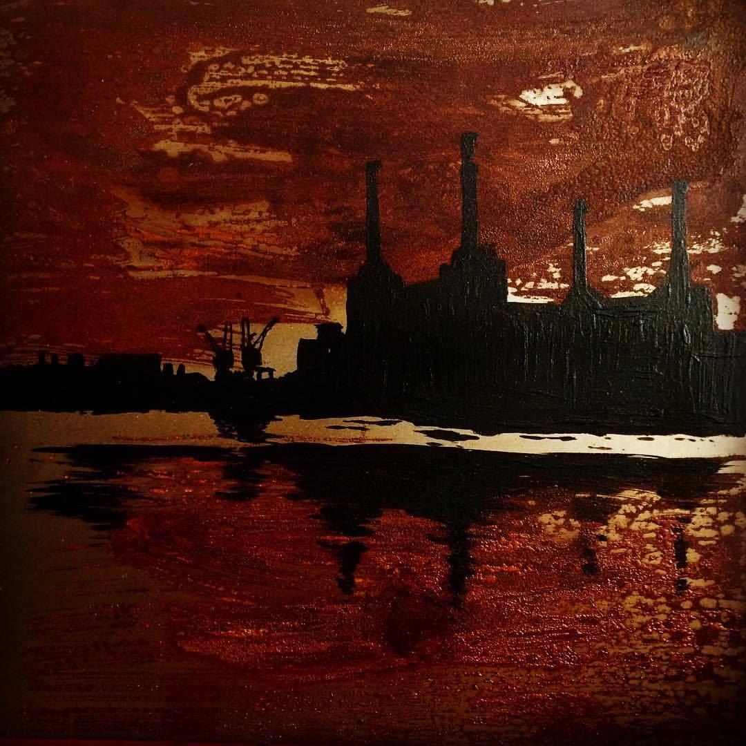 Battersea londres, oxidsunset, Acido y Acrilico sobre Acero, 50x50cm, 2015 #iriartes #oxid #londres #battersea #art
