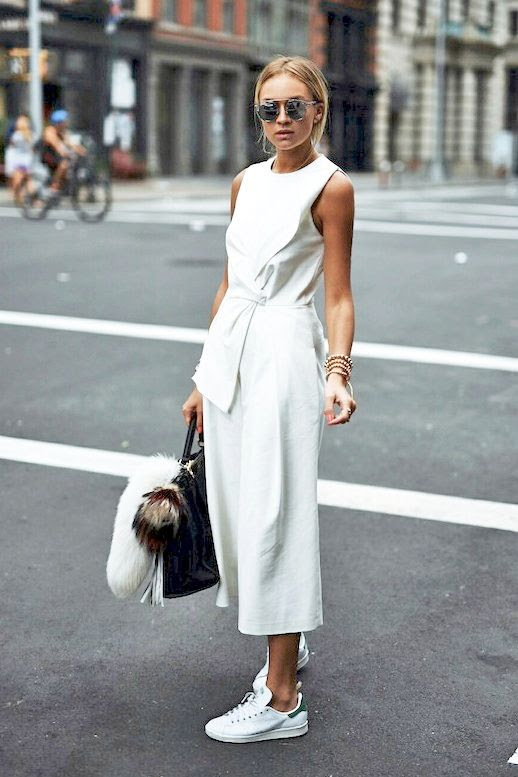 Le Fashion Blog Blogger Style Nyfw Tibi White Culotte Jumpsuit Dior Mirrored Sunglasses Stan Smith Adidas Sneakers Embroidered Fendi Oversized Bag Via Nina Suess