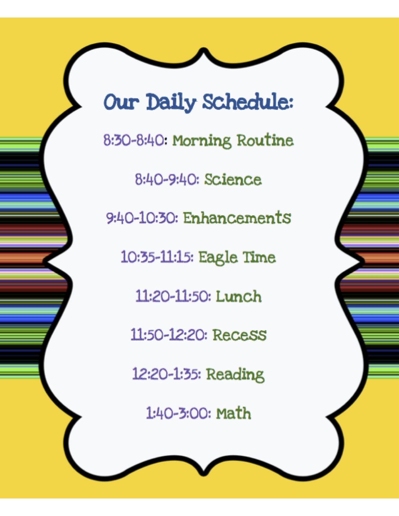 Our Daily Schedule - Ms. Emily Johnson- 5th Grade