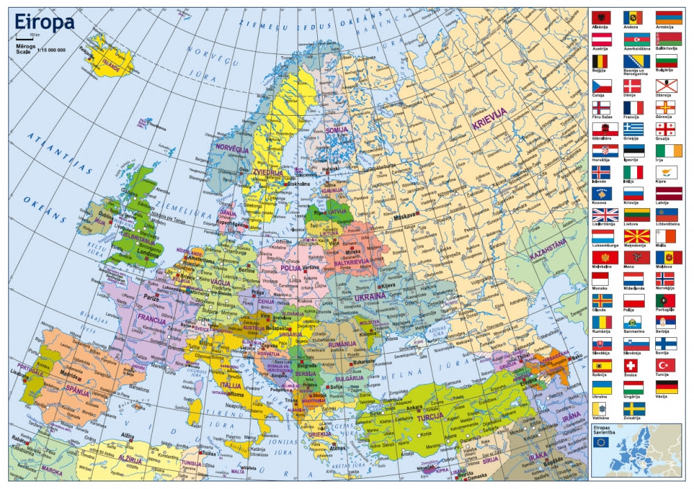 Political And Physiographic Map Of Europe In A3 Format