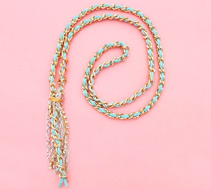 Gina Michele: diy woven leather tassel necklace
