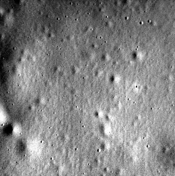 A final image that NASA's MESSENGER spacecraft took of Mercury before the probe intentionally crashed into the planet's surface on April 30, 2015.