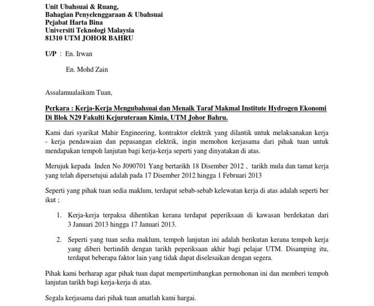 Surat Rasmi Permohonan Lanjutan Kontrak - Rasmi O