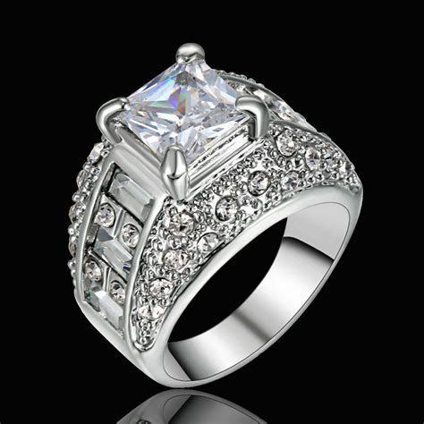 Size 9 Rhodium White Gold Plated Wedding Engagement Ring