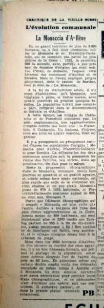 article sur le village de Monacia d'Aullène paru dans le journal 'Le petit Bastiais' en 1949