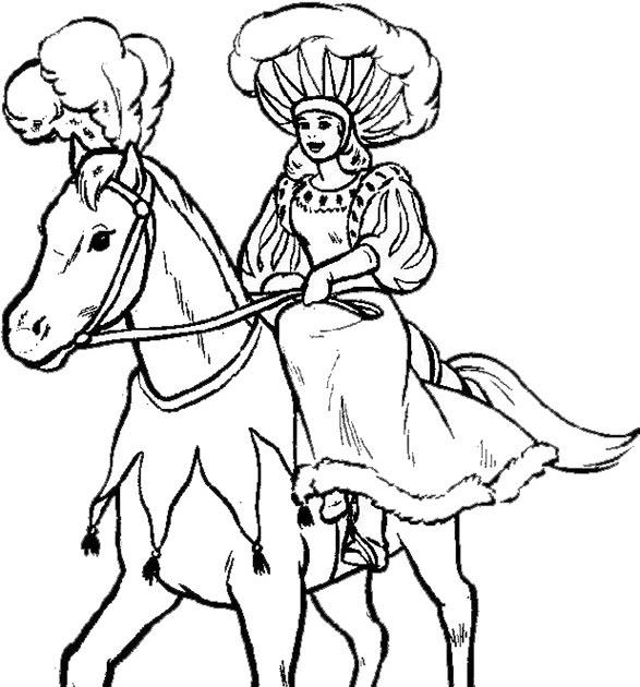 ausmalbilder pferde mit reiterin / kostenlose malvorlage